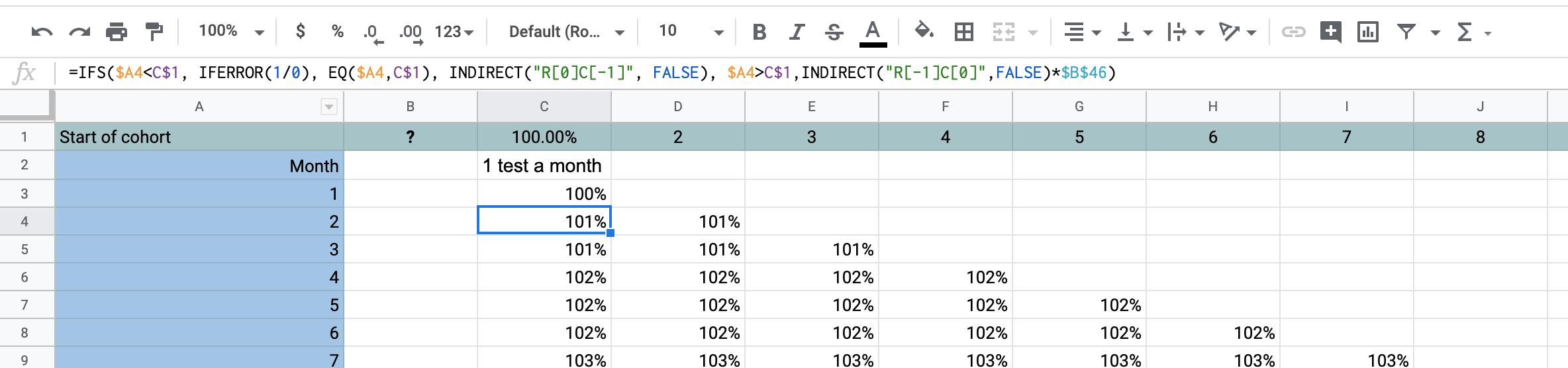 """=IFS($A4<C$1, IFERROR(1/0), EQ($A4,C$1), INDIRECT(""""R[0]C[-1]"""", FALSE), $A4>C$1,INDIRECT(""""R[-1]C[0]"""",FALSE)*$B$46)"""