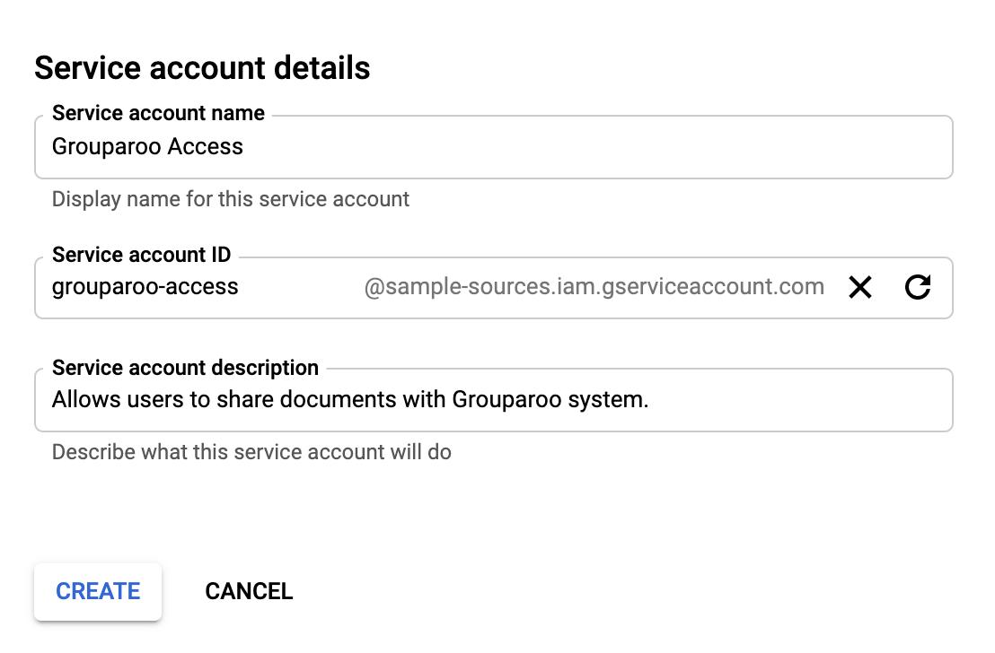 Naming a Google Service Account