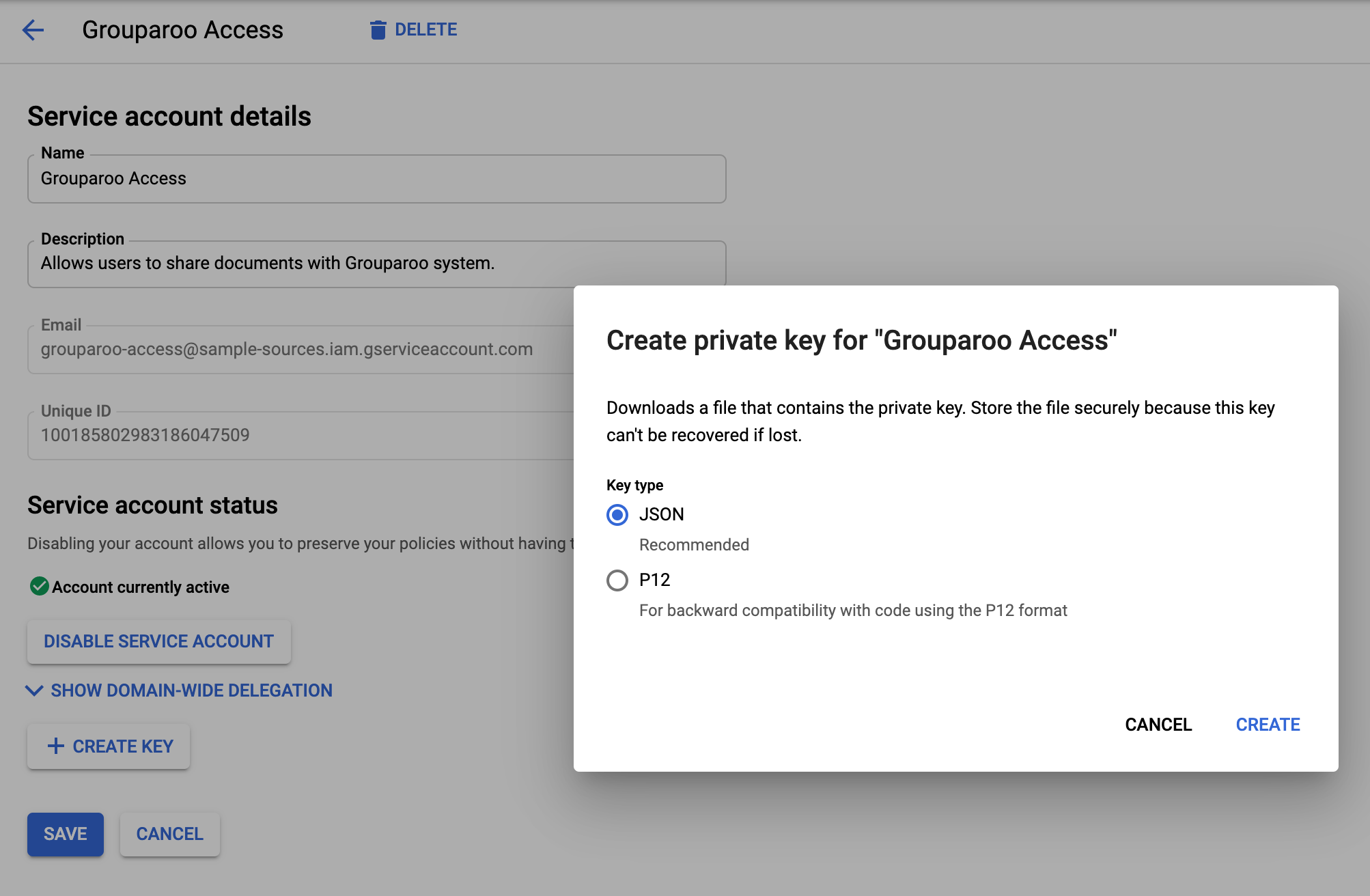Making a Google Service Account key