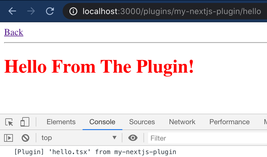 The plugin loads and shows a note