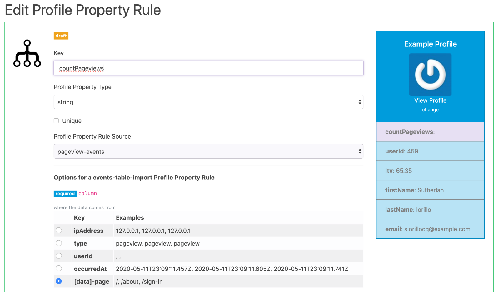 Create a property rule from your events
