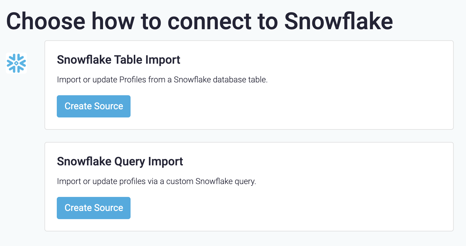 Types of Snowflake sources
