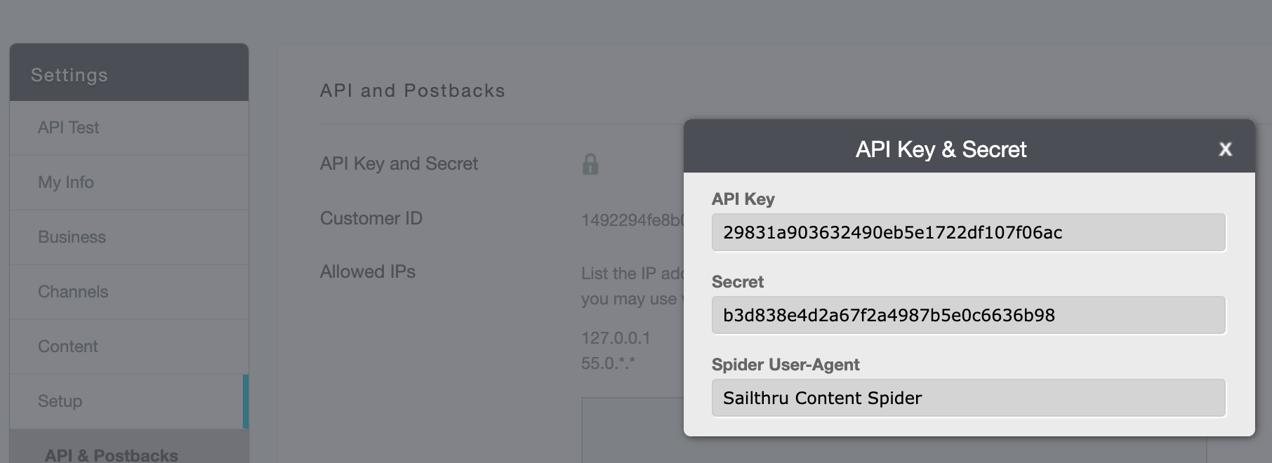 Getting your API Key and Secret