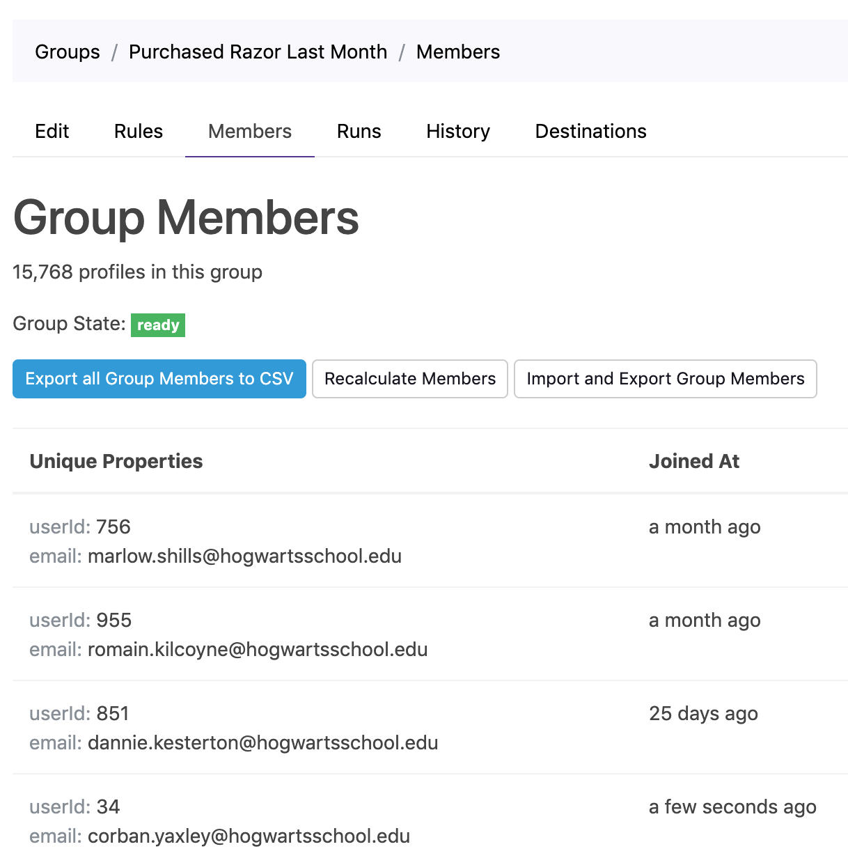 Browse group profiles in Grouparoo.