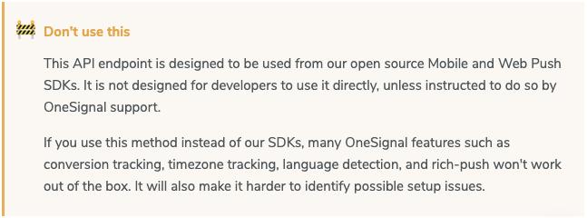OneSignal add devices warning