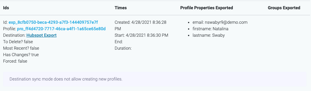 Destination sync mode does not allow creating new profiles